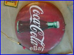 Vintage Coca Cola 48 Metal Button SignCoke AdvertisingScratchesOriginal