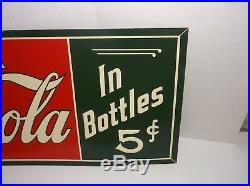 Vintage Coca Cola 5c Soda Pop Bottle Gas Station 36 EMBOSSED Metal Sign