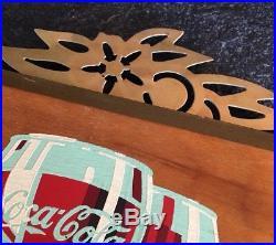 Vintage Coca Cola Coke Sign Kay Display, Wood & Metal Advertising Piece