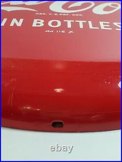 Vintage Coca Cola In Bottles 16 Round Metal Button Sign 1950s