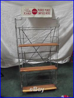 Vintage Coca-Cola Metal Bottle Return Rack With Sign, hard to find