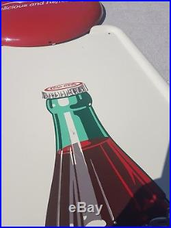 Vintage Coca Cola Pillar Metal Pilaster Coke Bottle Sign 1940's a-m 6-48 Exc