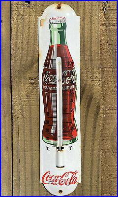 Vintage Coca Cola Porcelain Thermometer Metal Sign Coke Soda Pop Oil Gas Station