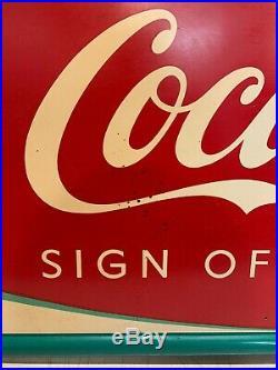 Vintage Coca Cola Sign Of Good Taste Ice Cold Metal Fishtail Sign Robertson 53