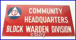 Vintage Cold War Era Civil Defense Block Warden Division Metal Sign C&P 28 x 14