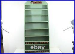 Vintage Coleman Lantern Parts Rack Store Display Coleman Parts Metal Tin Sign