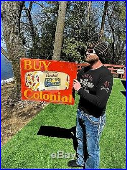 Vintage Colonial Bread 2 sided Metal Sign With Loaf Graphic Kitchen Bakery 27X21