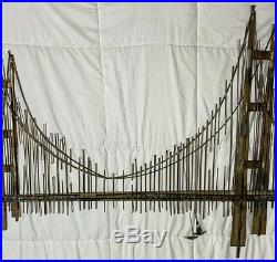 Vintage Curtis Jere Metal Wall Golden Gate Bridge Sculpture Signed & Dated 1970