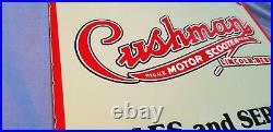 Vintage Cushman Porcelain Metal Motor Bike Sales Service Dealer Sign
