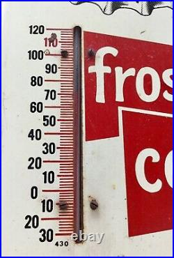 Vintage DR PEPPER Frosty Cold Metal THERMOMETER SIGN- Thermometer Accurate