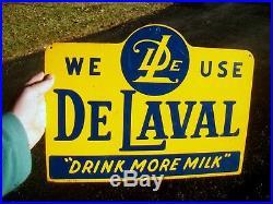 Vintage DeLaval Drink More Milk Metal Dairy Farm Agriculture Sign Excellent