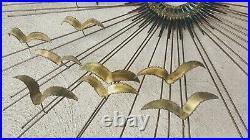 Vintage Degroot Brutalist Sunburst Wall Sculpture Mixed Metals Signed 42