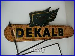 Vintage Dekalb Weather vane Seed Corn Two Sided Flying Ear Farm 18 Metal Sign