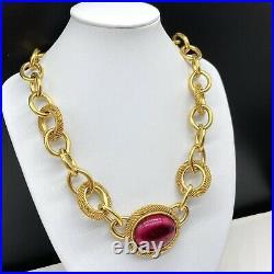 Vintage Designer Signed MONET Gold Tone Chain Link Pink Cabochon Necklace
