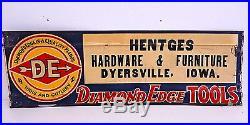 Vintage Diamond Edge Tools Hardware Farm Dyersville Iowa Embossed Metal Sign