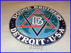 Vintage Dodge Brothers Cars Trucks Detroit 18 Porcelain Metal Gasoline Oil Sign