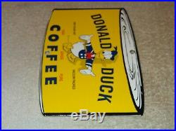 Vintage Donald Duck Coffee Die-cut Can 7 3/4 Porcelain Metal Gasoline Oil Sign