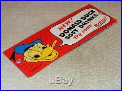 Vintage Donald Duck Soft Drinks 8 Porcelain Metal Soda Pop Gas Walt Disney Sign