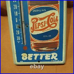 Vintage Double Dot Pepsi-Cola Metal Thermometer