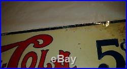 Vintage Double Dot Pepsi Cola Refreshing and Healthful Metal Sign 17 x 6 1/2