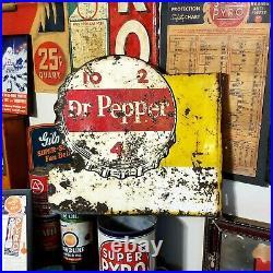 Vintage Dr Pepper 10-2-4 Double Sided Metal Soda Advertising Flange Sign