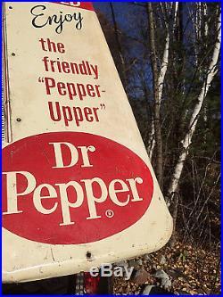 Vintage Dr Pepper Cola Beverage Soda Pop Metal Thermometer Sign 26inX10in