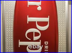 Vintage Dr Pepper Embossed Metal Sign 39 X 17.25 Stout-Lite By Stout Sign Co