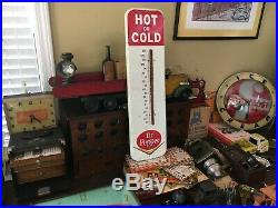Vintage Dr Pepper Metal Thermometer Works! W Chevron Soda Cola Fountain Sign