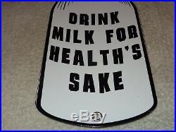 Vintage Drink Milk For Health's Sake 14 Dairy Bottle Farm Porcelain Metal Sign