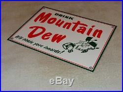 Vintage Drink Mountain Dew Hillbilly 12 Porcelain Metal Soda Pop Gas & Oil Sign