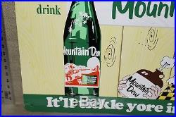 Vintage Drink Mountain Dew Soda Pop Embossed Metal Sign