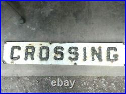Vintage EARLY Railroad CROSSING 4 ft Metal Sign -Reflective Glass Cat's Eyes