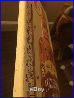 Vintage ECHO SPRINGS KENTUCKY BOURBON Thermometer, Metal Advertising Sign, 26x10