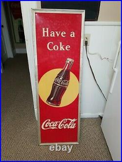 Vintage Early Coca Cola Soda Pop Metal bottle embosse Sign Coke 54X18 Rare