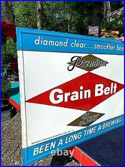 Vintage Early Grain Belt Premium Beer Large Diamond Logo Tin Metal Sign 58X46