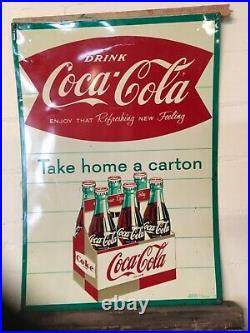 Vintage Early Metal Coca Cola Soda Pop 6 pack bottle graphic Fish Tail Sign Coke