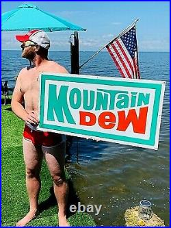 Vintage Early Mountain Dew Soda Pop Metal Embossed Sign 36X18