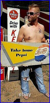 Vintage Early Pepsi Cola Soda Pop 2sided Metal bottle Cap Sign Coke 41X16