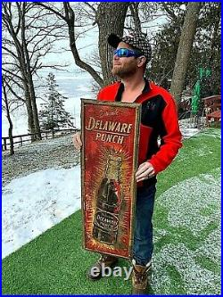 Vintage Early Rare Delaware Punch Soda Pop Metal Vertical Sign 39X13