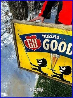 Vintage Early Rare Griesedieck Beer Grace Brothers Brewing Co. Metal Sign 56X35