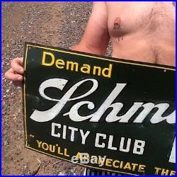 Vintage Early lg 30in Jacob Schmidt City Club Beer Brewery Metal Sign St Paul MN