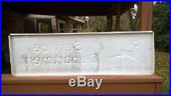 Vintage Embossed Metal 1970's John Deere SERVICE DEPARTMENT Sign