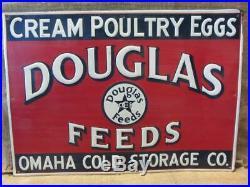 Vintage Embossed Metal Douglas Feeds Sign Omaha Antique Feed Seed Farm 10019
