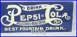 Vintage Embossed Pepsi Cola Tin Metal Sign Rare Double Dot