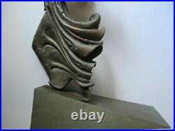 Vintage Erte Bronze Metal Statue Sculpture Large Woman Art Deco Female Model