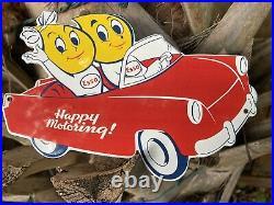 Vintage Esso Porcelain Metal Sign Happy Motoring Car Die Cut Motor Oil Drop Girl