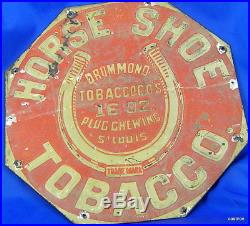 Vintage Extremely Rare Horse Shoe Tobacco Metal Sign Drummonds ST Louis Plugs