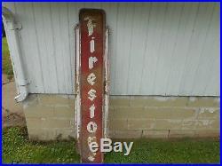 Vintage FIRESTONE TIRES GAS STATION OIL Advertising Metal VERTICAL SIGN