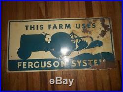 Vintage FORD FERGUSON SYSTEMS FARM TRACTOR Metal Tin Advertising SIGN ORIGINAL