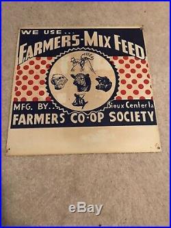 Vintage Farmers-Mix Feed Pig Cow Chicken Sheep Farm Advertising Metal Sign Iowa